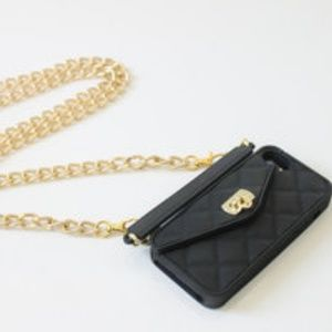 Black Pursecase with Gold Chain Strap